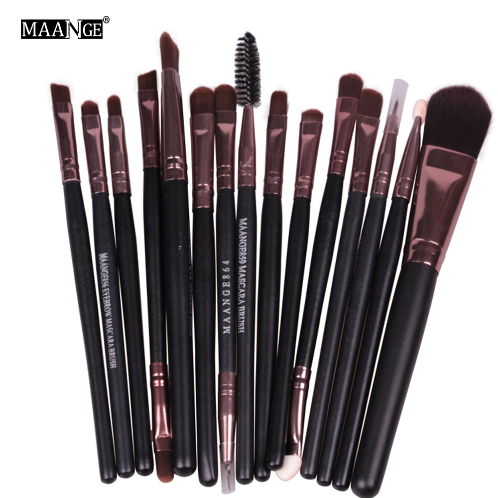 High Quality 15 Pcs/set Makeup Cosmetic Beauty Kits Eye Shadow Foundation Eyebrow Lip Brush Makeup Brushes Set Tools Wholesale 20 pcs set makeup brushes set eye shadow foundation eyeliner eyebrow lip brush cosmetics tools kits beauty make up brush 2017