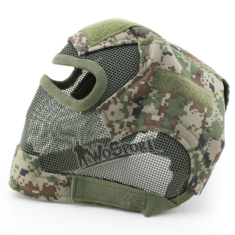 WoSporT Paintball Protection Face Masks Metal Net Mesh Face Cover Big Vision Slingshot Military Gun Paintball Sports Accessories