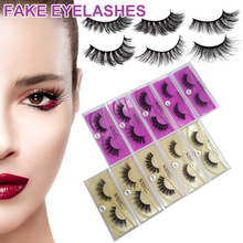 1 Pair 3D Mink Lashes Handmade False Reusable Fake Eyelash for Makeup JIU55