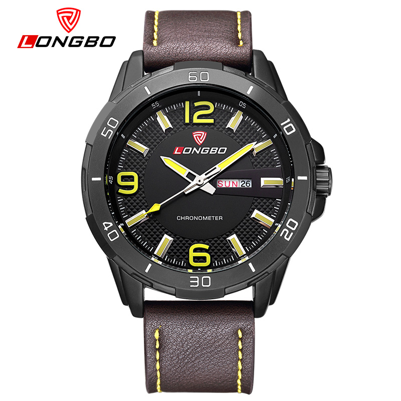 LONGBO Luxury Brand Relogio Masculino Date Leather Casual Watch Men Sports Watches Quartz Military Wrist Watch Male Clock 80197 curren luxury brand relogio masculino date leather casual watch men sports watches quartz military wrist watch male clock 8224