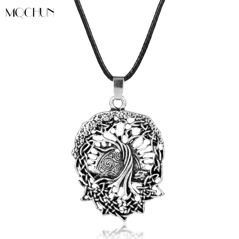 MQCHUN Tree of Life Yggdrasil Necklace Nordic Vikings Runes Amulet Pendant Necklace Talisman Women Men Christams Party Gift