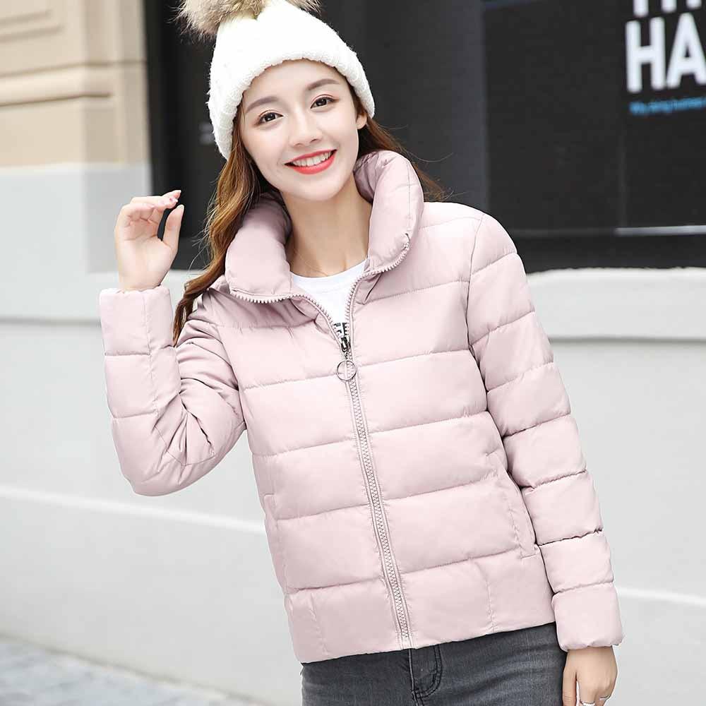 Free Ostrich Coat Women Winter Warm Long Sleeve Zipper Stand Collar Down Cotton Padded Coats Soft   Parkas   Female K3040
