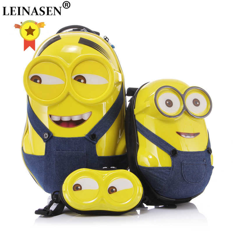 2PCS/Set hot gift kids travel Child luggage children trolley,Cartoon 3D Minions backpack,cartoon pattern box custom suitcase