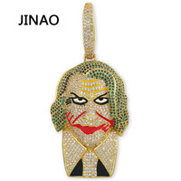 JINAO Hip Hop New Joker supervillain Pendant Necklace Micro Pave Cubic Zircon Charm Hip Hop Jewelley For Men Women Gift