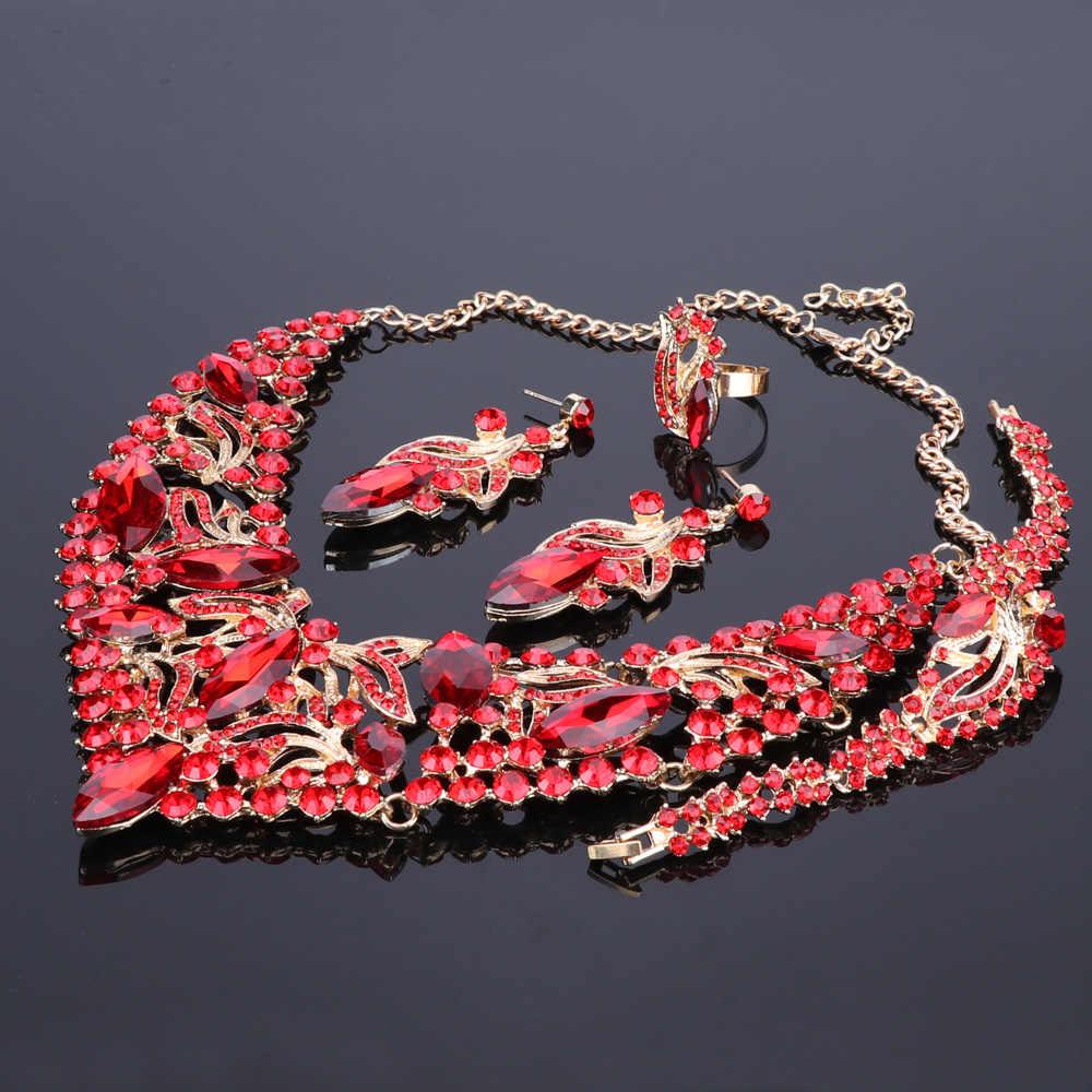 ファッションラインストーンクリスタルチョーカーネックレス woman 声明ネックレスイヤリングブレスレットリング襟自由奔放に生きるジュエリーセット