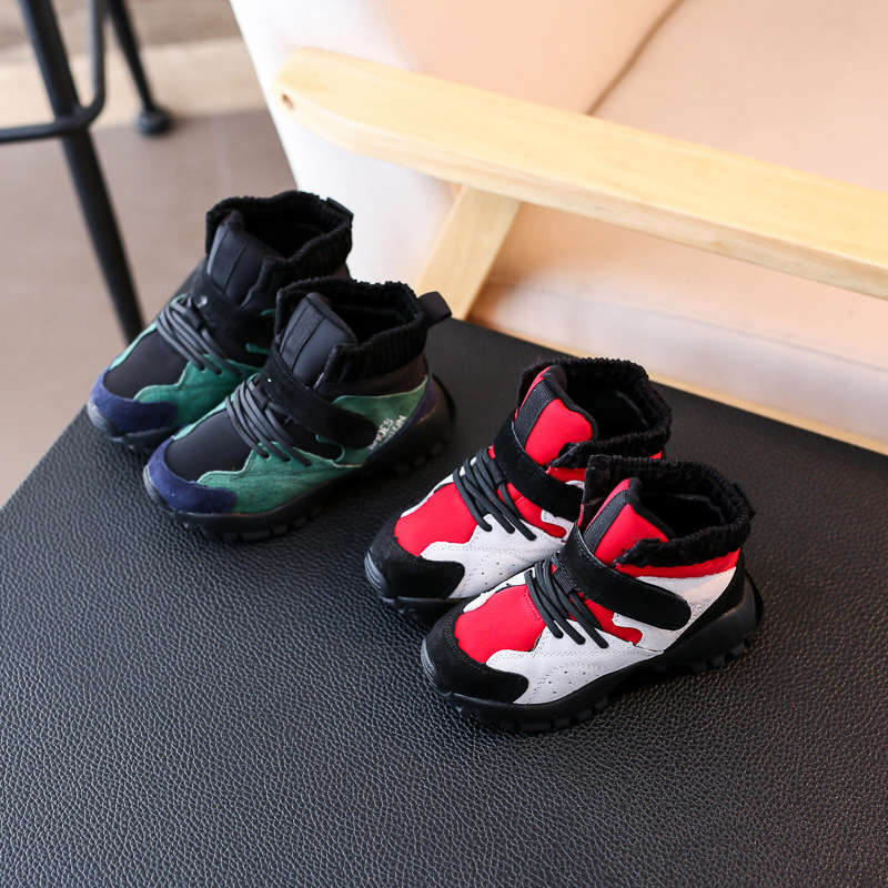 Autumn and Winter Children Boys and Girls Leather Suede Bread Shoes Kids Snow Warm Shoes Waterproof Sneakers