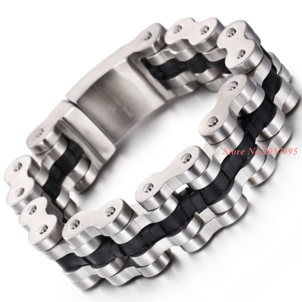 Super Heavy Men's Biker Motorcycle Bike Link Chain Bracelet Silver 16L Stainless Steel Ghost Rider Racer bangle jewelry 22cm 17mm 316l stainless steel green yellow colors motor bangle jewelry huge heavy men motorcycle biker chain bracelet for boy