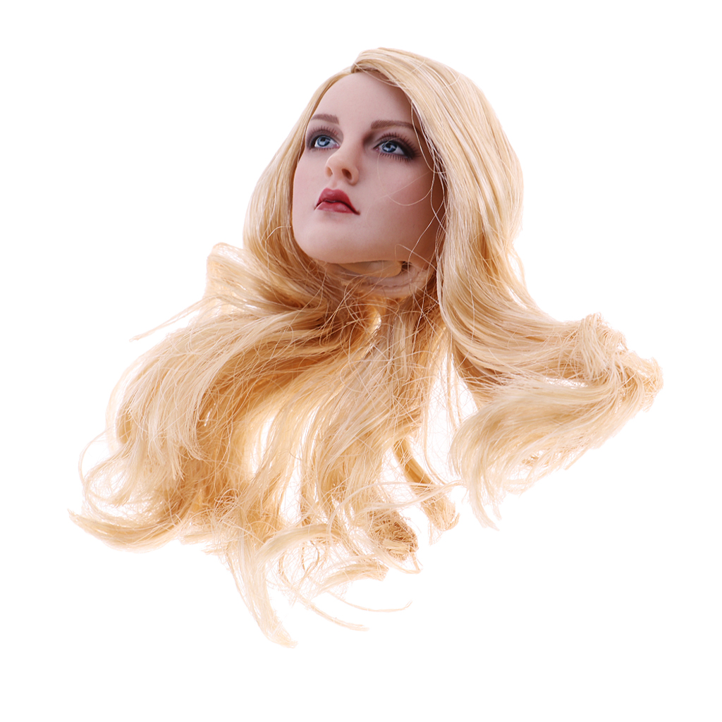 1//6 Long Golden Hair Head Sculpture Rubber for 12/'/' TTL Enterbay Doll Figure
