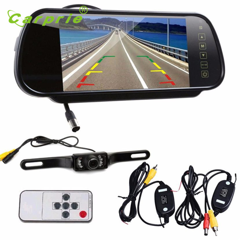 AUTO 7 LCD Mirror Monitor+Wireless Car Reverse Rear View Backup Camera Night Vision  june28