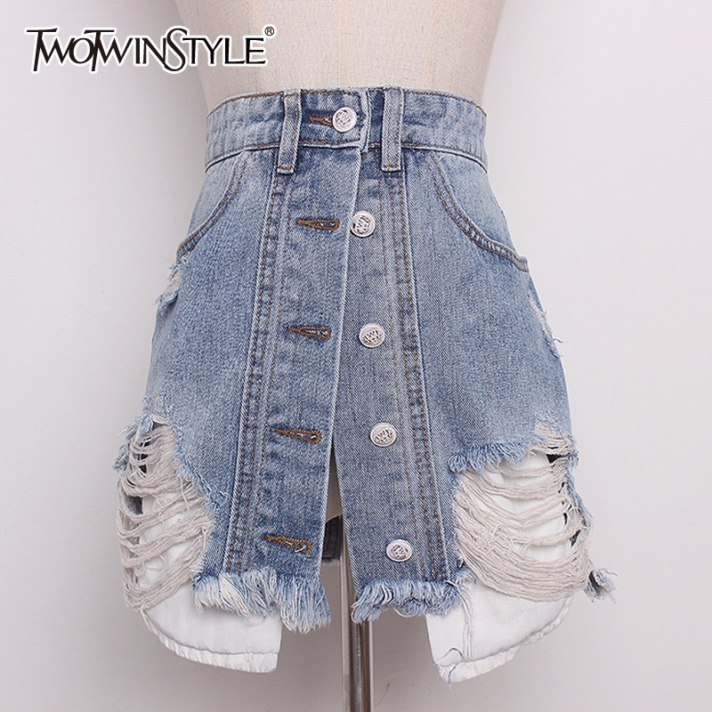 TWOTWINSTYLE Denim Skirt For Women High Waist Hole Ripped Summer Irregular A Line Sexy Mini Skirts VFashion Harajuku Clothes