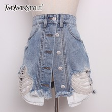TWOTWINSTYLE Denim Skirt For Women High Waist Hole Ripped Summer Mini Skirts