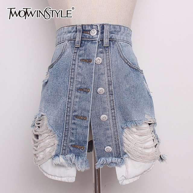 TWOTWINSTYLE Denim Skirt For Women High Waist Hole Ripped Summer Irregular A Line Sexy Mini Skirts 2018 Fashion Harajuku Clothes