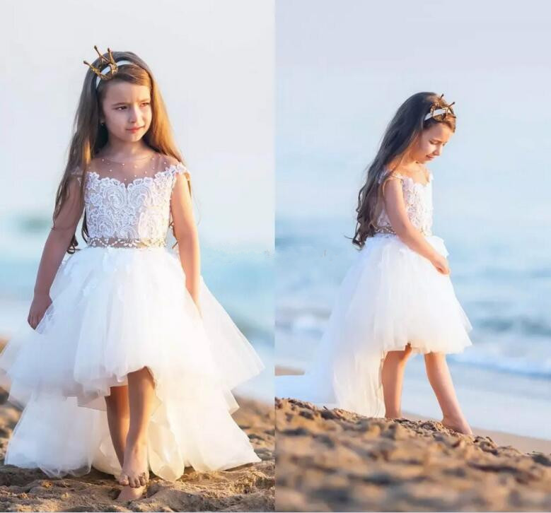Cute High Low Flower Girls Dresses For Weddings Sheer Neck Cap Sleeves Lace Pearls Tulle Backless Toddler Girls Pageant Gown halter lace insert sheer backless babydolls
