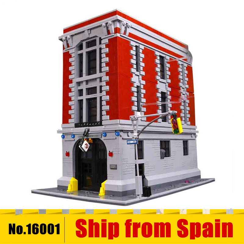 Movies 16001 Ghostbusters Firehouse Headquarters Brinquedos Model Set Building Block Bricks Model Compatible With 75827