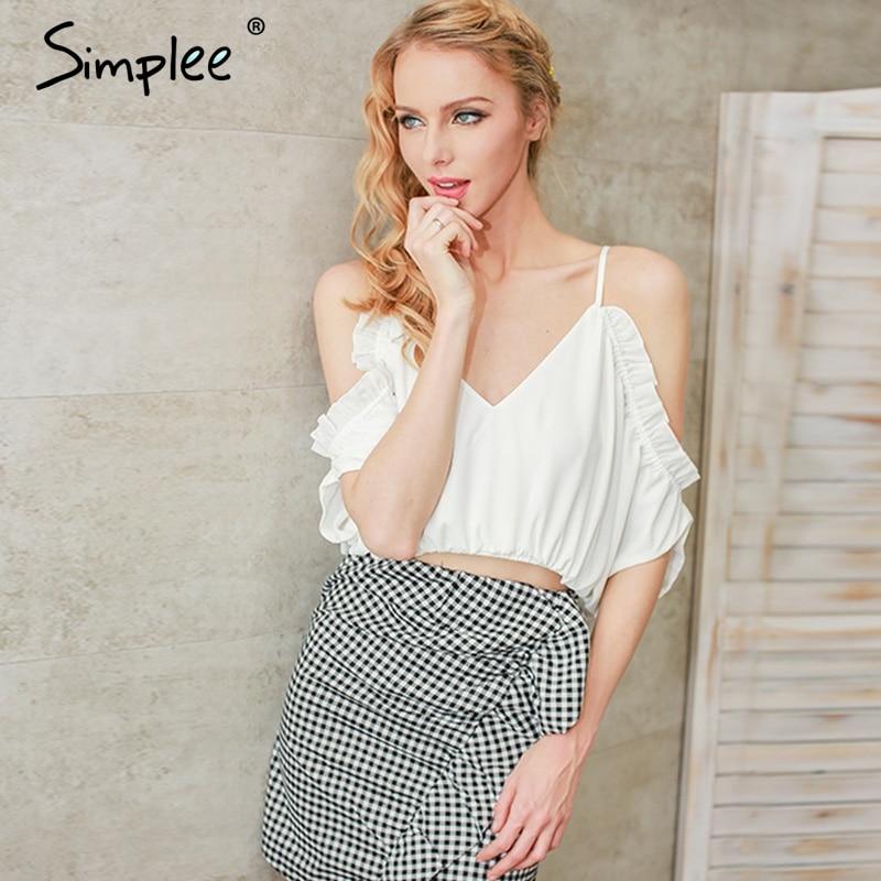 Simplee Deep V beach blúz ing női felsőrészek Ruffle chiffon fehér blúz Elasztikus hátul nélküli női blúz blúz femme blusas