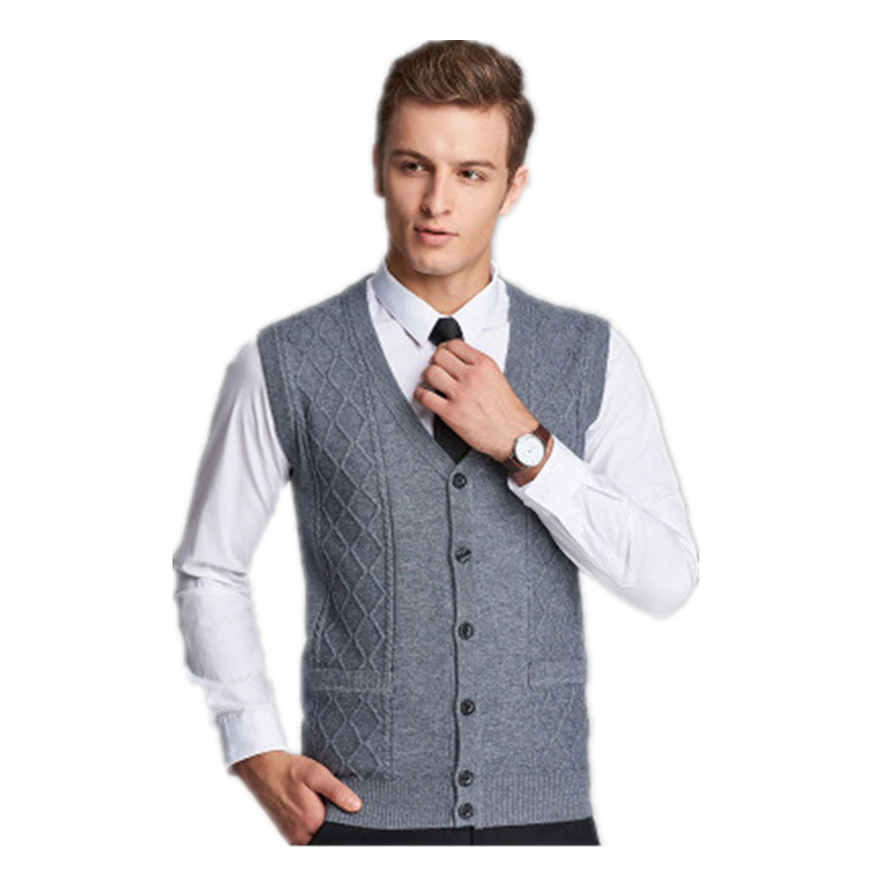2018 New Arrival Autumn Winter cardigan Knitted Sweater vest Men Sleeveless Standard Wool Grey Black male pullovers
