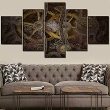 Wall Art Picture Canvas Print One Set 5 Panel Sci Fi Steampunk Gears And Clock Poster