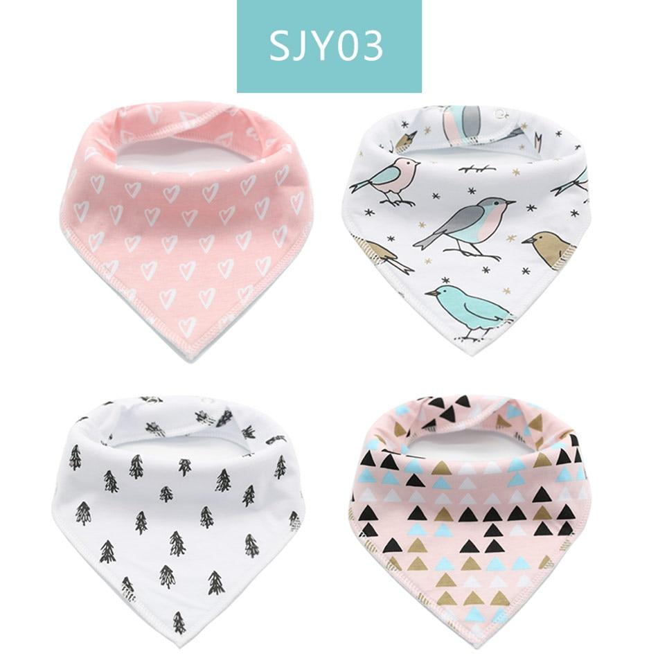 4Pcs Infant Kids Cotton Bandana Bibs Feeding Saliva Towel Dribble Triangle Set U