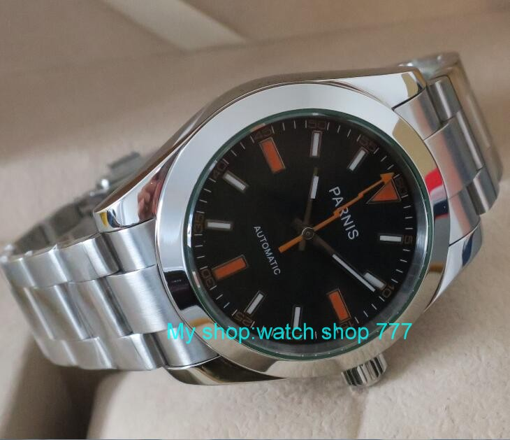 PARNIS 40mm black dial 21 jewels Automatic Self Wind mechanical movement men s watch sapphire glass