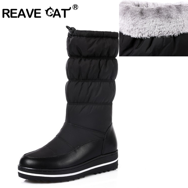 d2fe61e5fa7 REAVE CAT New genuine leather snow boots women thick fur warm down mid calf winter  boots round toe platform shoes size 35-43A798