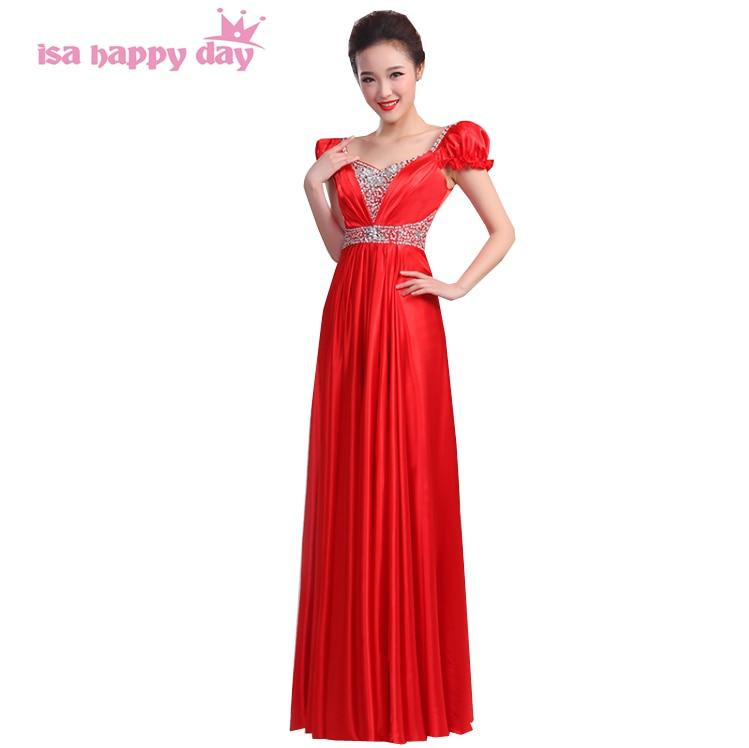 130e15374993f متواضع الرسمي المرأة السهرة أزياء الخطوبة فساتين أنيقة 2019 زائد حجم الحرير  الأحمر أثواب الصين براقة ثوب H3148