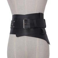 New Women Ultra Plus Wide Belt Accessories Faux Leather Elastic Corset Belt Front Metal Buckle Waist
