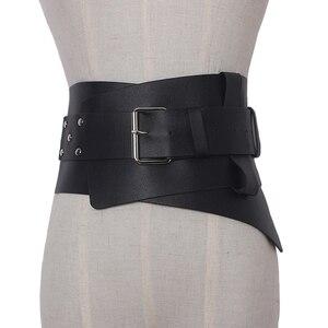Image 1 - Nowe damskie ultra plus szerokie akcesoria do paska Faux Leather elastyczny gorset pas z przodu metalowa klamra pas biodrowy dziewczyna ubrać dekorację