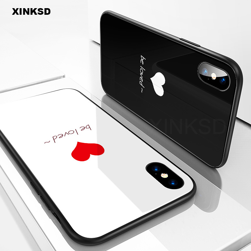 Luxury Soft TPU Back cover for iphone 6 6s 7 8 Plus case Tempered Glass full Protective Back cover For iphone X 8 7 Plus case