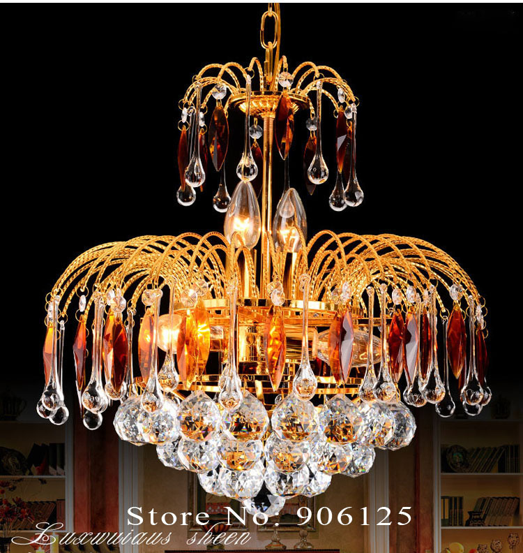 Gold Crystal Chandelier Light Fixture 15.7 Inches Mini Crystal Chandelier Light Lighting Guaranteed 100%+Free shipping!