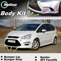 Bumper Lip Deflector Lips For Ford S Max SMax S Max Front Spoiler Skirt For Top Gear Fans Car View Tuning / Body Kit / Strip