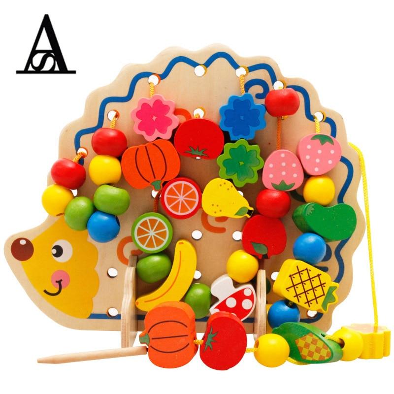 Simingyou Learning Education Wooden Toys 82 Pcs Hedgehog Fruit Beads Montessori Oyuncak Educational Toy For Children Playmobil