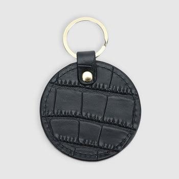 Nowy projekt darmowa niestandardowe inicjały litery wzór krokodyla lub saffiano skórzane okrągły brelok do kluczy brelok portfel na klucze