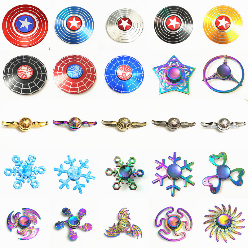 American spiderman Cupid Snowflake Fidget Spinner EDC Hand Spinners Autism ADHD Kids Christmas Gifts Metal Finger Toys Spinners blue purple camouflage cute printing fidget hand finger spinner for autism and adhd anti anxiety camouflage adult kids toys