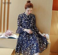 Pregnant Women Spring Coat Fashion V Neck Horn Seven Sleeves Printed Chiffon Dress In The Long