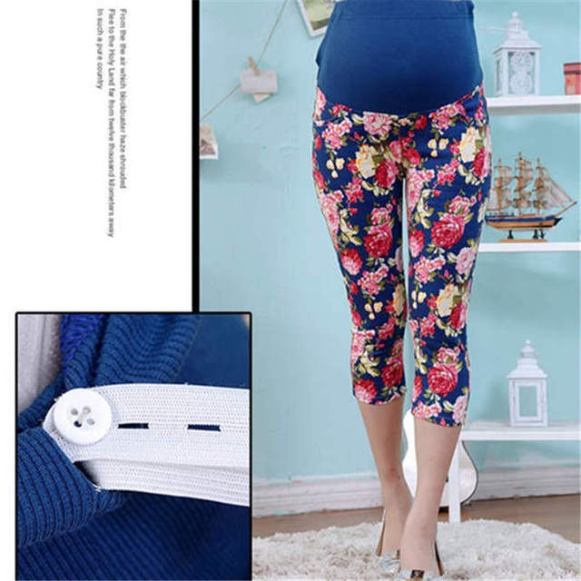 Pregnant women pants Korean fashion fat mm women maternity summer new large flower seven pregnant women belly leggings