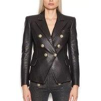 EXCELLENT QUALITY 2019 Stylish Designer Blazer for Women Lion Buttons Artificial Leather Jacket Blazer Plus Size S 3XL