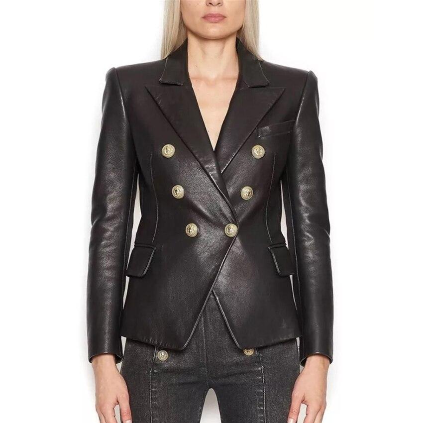 EXCELLENT QUALITY 2020 Stylish Designer Blazer For Women Lion Buttons Artificial Leather Jacket Blazer Plus Size S-3XL