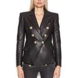 HERVORRAGENDE QUALITÄT 2020 Stilvolle Designer Blazer für Frauen Lion Tasten Künstliche Leder Jacke Blazer Plus Größe S-3XL
