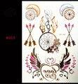 #553 приливы металлический водонепроницаемый татуировки хной золотые и серебряные женщин голубой кружевной цветок ожерелье временные татуировки наклейки