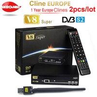 2pcs 1 Year Europe C Line Server HD V8 Super DVB S S2 Satellite Receiver Full