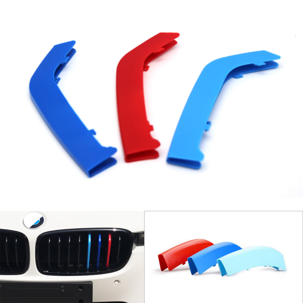 3pcs Car Styling Front Kidney <font><b>Grill</b></font> Bar Cover 3D Sport Strip for BMW 3/5 Series <font><b>F30</b></font>/F10 8 / 10 / 11 / 12 Bars Axis Only image