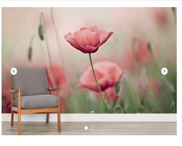 Personalizzato carta da parati floreale delicato papaveri for Carta da parete per camera da letto