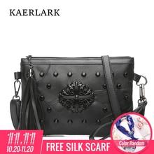 KAERLARK Brand New Women Fashion Handbags female crossbody bag Rivet PU Leather Flap small messenger bags WD0222/WD0223/WD0224
