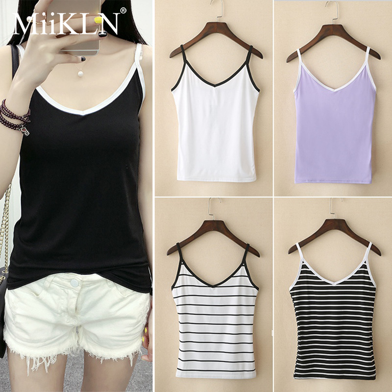 MiiKLN Summer Tops M Size 8 Colors Women Tank Tops Polyester & Cotton Top Solid Ladies Tops(China)