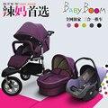 Europa Moda Carrinho De Bebê 3 em 1, 2 em 1 Sistema De Viagem (Carrinho de Bebé + Cesta Dormir + Assento de Carro) 3 Grandes Rodas Pneumáticas