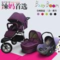 Europe Fashion Baby Stroller 3 in 1, 2 in 1 Travel System (Pushchair + Sleeping Basket+ Car Seat) 3 Big Pneumatic Wheel