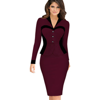 New Fashion Women Spring Autumn Work Dress Elegant Patchwork Pencil Bodycon Formal Business Dresses 2016