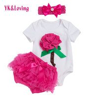 Feikebella 2015 Summer Baby Set Rose Color Flower Bodysuit With Ruffle Short Pant Nowborn Infant Baby