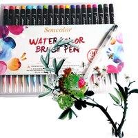 20 Color Premium Painting Soft Brush Pen Set Watercolor Art Copic Markers Pen Effect Best Coloring