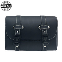 Motorcycle Saddle Bags Black Vintage PU Leather Motorcycle Side Tool Pouch Tail Bag Handbags 1 piece